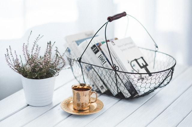 Basket with books